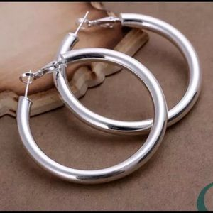 Jewelry - 925 STERLING SLVER PLATED THICK LARGE ROUND HOOPS